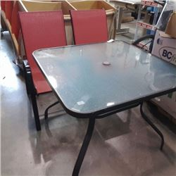GLASSTOP PATIO TABLE AND 2 CHAIRS