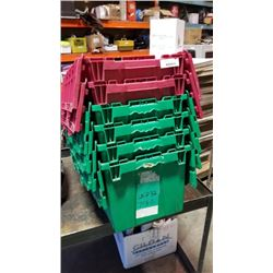 6 STORAGE TOTES WITH BUILT IN LIDS