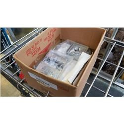 BOX OF NEW HINGES AND STEAMIST 3199 SHOWER HEAD