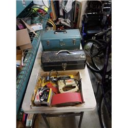 2 TOOLBOXES AND TRAY OF TOOLS, AIR GUN, SANDING BELTS