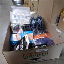 BOX OF NEW SOCKS, SKETHCHERS SHOES, KNEE BRACE AND MORE
