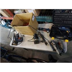 BOX OF POWER TOOLS, RONA DRILL, ROUTER,