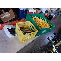 BUNGEECORDS BIN OF ROPE - VARIOUS LENGTHS AND CRATE OF BUNGEE CORDS