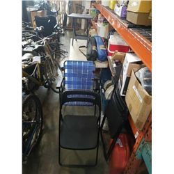 2 FOLDING CAMP CHAIRS AND 3 FOLDING DECK CHAIRS AND FOLDING ENDTABLE