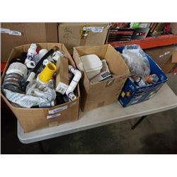 3 BOXES OF PLUMBING HARDWARE AND SHOP SUPPLIES