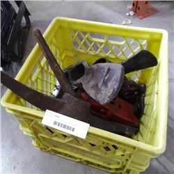 CRATE OF PICK AXE AND MINING AXE HEADS