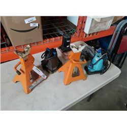 LOT OF SUMP PUMPS, ELECTRIC MOTOR, JACK STANDS