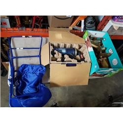 BOX OF TROPHIES, MASTERCRAFT VACUUM - NEEDS BATTERIES AND FOLDING HIGH CHAIR