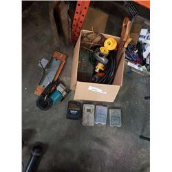 BOX OF POWER TOOLS, DRILL BITS, JUMPER CABLES, TOOLBOX