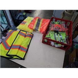 TRAY OF HIGH VIS VESTS AND HGH VIS STRAPS