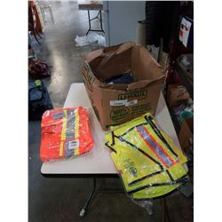 BOX OF HIGH VIS VESTS, STRAPS AND CONDOR PANTS SIZE 40