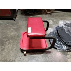 ROLLING RED SHOP STOOL