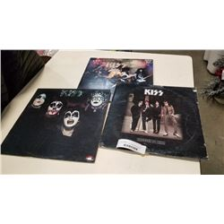 KISS DRESSED TO KILL RECORD SLEEVE SIGNED BY GENE SIMMONS AND 2 OTHER KISS RECORDS
