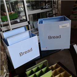 5 PC BLUE ENAMEL BREAD BOX SET WITH LIDS