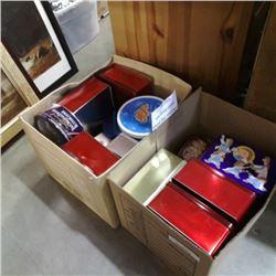 2 BOXES OF VINTAGE TINS AND 12 VINTAGE LONG NECK BEER BOTTLES