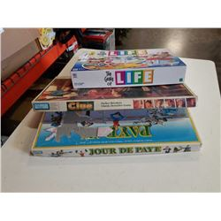 GAME OF LIFE, CLUE AND PAYDAY BOARD GAMES