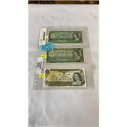 3 CANADIAN 1 DOLLAR BILLS 1954, 1967, 1973 - LAST YEAR OF BILL
