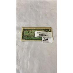 1937 CANADIAN 5 DOLLAR BILL AND 1967 1 DOLLAR BILL