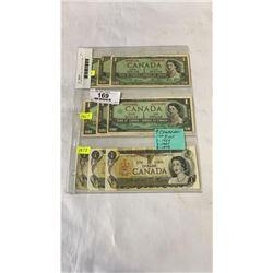 9 CANADIAN 1 DOLLAR BILLS  3 - 1954,  3 - 1967, AND 3 - 1973