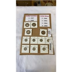 11 SILVER CANADIAN COINS 4 QUARTERS AND 7 DIMES