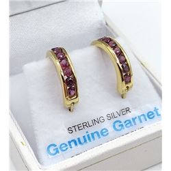 STERLING SIVER YELLOW GOLD PLATED GENUINE GARNET HOOP EARRINGS W/ APPRAISAL $860 - 14 GARNET (.7CTS)