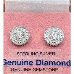 STERLING SILVER DIAMOND EARRINGS W/ APPRIASAL $895 - 15 DIAMONDS (0.01CT) BIRTHSTONE APRIL