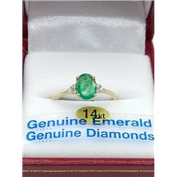 14KT YELLOW GOLD 7X5MM GENUINE EMERALD AND DIAMOND RING W/ APPRAISAL $2870 - SIZE 6.75, 0.8CT EMERAL