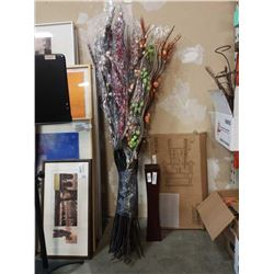 BUNDLE OF ARTIFICIAL FLOWER DECOR AND WOOD VASE