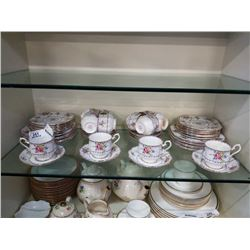 PETIT POINT CHINA CUPS AND SAUCERS AND PLATES