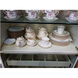 SADLER AND OTHER TEAPOT, CREAM AND SUGAR AND DOULTON PLATES, 2 CUPS AND SAUCERS
