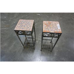 2 METAL AND TILE PLANT STANDS