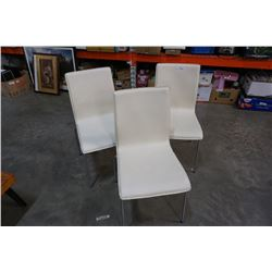 3 METAL AND LEATHER CHAIRS