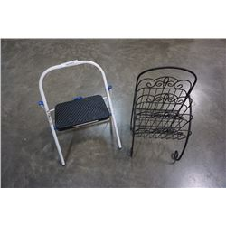 IRON MAGAZINE RACK AND SAFETY FIRST STEP STOOL
