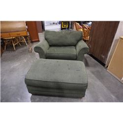 GREEN UPHOLSTERED BAUHAUS OVERSIZED ARMCHAIR AND OTTOMAN