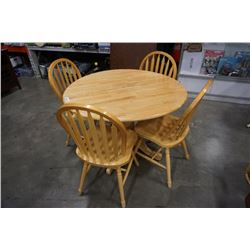 ROUND MAPLE DROLEAF DINING TABLE WITH 4 CHAIRS