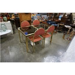 BRASS GLASSTOP DINING TABLE AND 4 CHAIRS - ITALIAN, DRAWLEAF