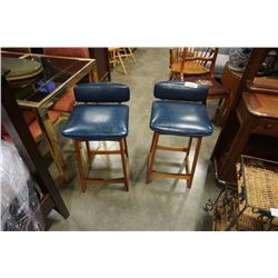 2 HAND CRAFTED LEATHER AND TEAK CHAIRS