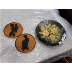 ENGLISH CERAMIC PLATE AND TWO CARVED WOODEN DISHES