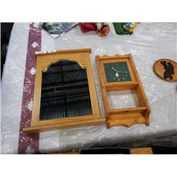 MIRROR W/ WOODEN FRAME AND HAND MADE WOODEN CLOCK