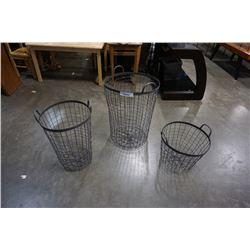 3 CIRCULAR WIRE BASKETS
