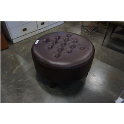STUDDED TUFTED ROUND LEATHER OTTOMAN