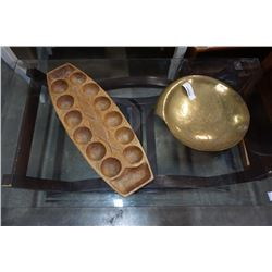 BRASS BOWL, WOOD CARVED GAME BOARD