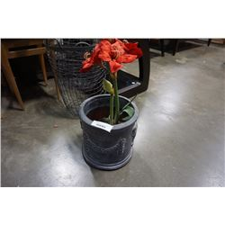 LARGE PLANTER WITH ARTIFICIAL FLOWER