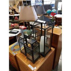 4 METAL AND GLASS LANTERNS
