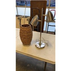 WOVEN LAMP AND BRUSHED METAL LAMP