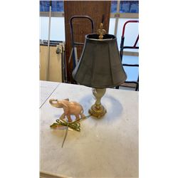 STONE ELEPHANT AND TABLE LAMP