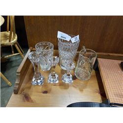 CRYSTAL VASES, CANDLESTICKS AND PITCHER
