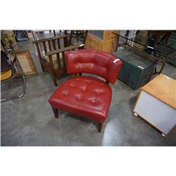 RED LEATHER TUFTED MOES ACCENT CHAIR