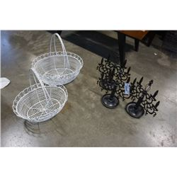 LOT OF BLACK CANDLE STANDS AND WIRE BASKETS