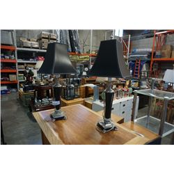 PAIR OF DECORATIVE BLACK TABLE LAMPS